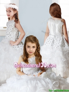 Fashionable Asymmetrical Neckline Mini Quinceanera Dress with Beading and Ruffles