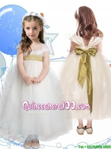 New Arrivals Square Cap Sleeves Mini Quinceanera Dress with Sashes