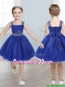 Perfect Straps Royal Blue Mini Quinceanera Dress with Beading and Bowknot