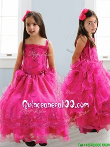 Popular Spaghetti Straps Lace and Ruffled Layers Mini Quinceanera Dress in Hot Pink