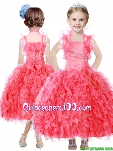 Beautiful Beaded and Ruffled Straps Mini Quinceanera Dress in Coral Red
