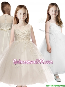 See Through Scoop Appliques Mini Quinceanera Dress in Champagne