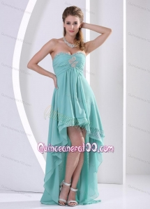 High-low Sweetheart Beading And Ruche Dama Dress