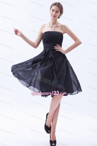 Navy Blue Strapless Empire Knee-length Chiffon Dam Dress With Bowknot