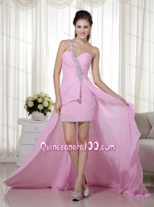 Pink Beading One Shoulder Column / Sheath Dama Dress with Chiffon