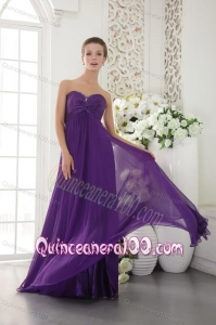 Beaded Decorate Sweetheart Dama Dress in Eggplant Purple