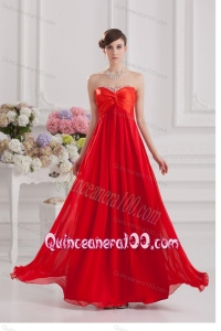 Red Empire Chiffon Beaded Decorate Dama Dress with Sweetheart