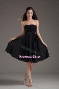 Simple Empire Black Strapless Sash With Chiffon Dama Dress