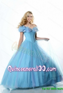 Fashionable 2015 A Line Off the Shoulder Cinderella Quinceanera Dresses with Hand Made Flowers