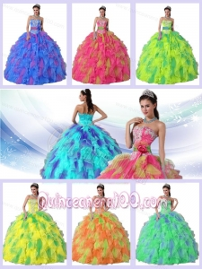 2014 Ball Gown Strapless Appliques and Sahes Sweet 16 Dresses for Party