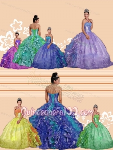 All Colors Strapless Ruffles and Beading Embroidery Sweet 16 Dresses for 2014 Spring