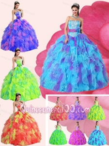Strapless Appliques Sashes and Ruffles Dresses For a Quinceanera with Organza