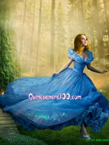 Fashionable Ball Gown Blue Cinderella Quinceanera Dress with Hand Made Flowers