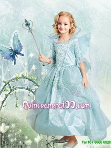 Cute A Line Ankle Length Blue Cinderella Flower Girl Dress with Embroidery