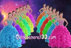 Romantic Sweetheart Beading and Ruffles Fuchsia Quinceanera Dresses 2014 Ball Gown