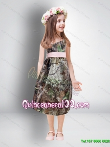 Cheap One Shoulder Tea Length Camo 2015 Flower Girl Dresse5