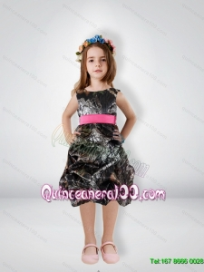 Fashionable Knee Length Camo Flower Girl Dresses with Sashes