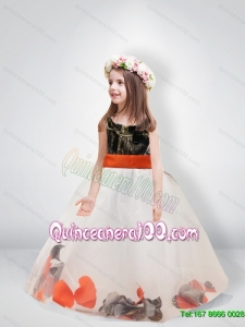 Pretty Ball Gown Scoop Belt Camo Flower Girl Dresses