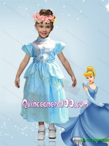 2015 Perfect Empire Tea Length Cinderella Flower Girl Dress in Blue