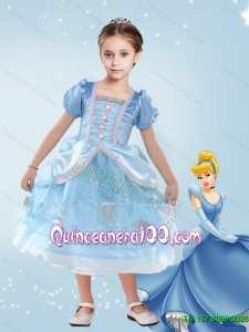 Ball Gown Blue Pretty Cinderella Flower Girl Dress with Embroidery