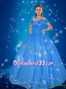 Comfortable Hand Made Flowers Blue Cinderella Quinceanera Dress for 2015