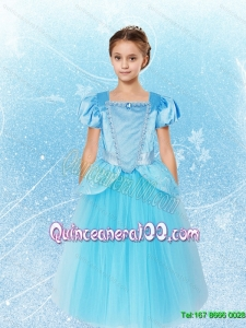 Delicate Beaded Blue Cinderella Flower Girl Dress with Beading for 2015