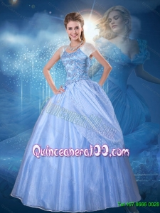 Discount Ball Gown Blue Cinderella Quinceanera Dress with Cap Sleeves
