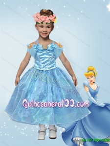 Elegant Ball Gown Cinderella Flower Girl Dress with Appliques in Blue