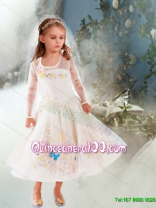 Fashionable A Line Embroidery Cinderella Flower Girl Dress with Long Sleeves