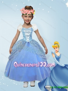 Lovely Blue Ball Gown Cinderella Flower Girl Dress with Ankle Length