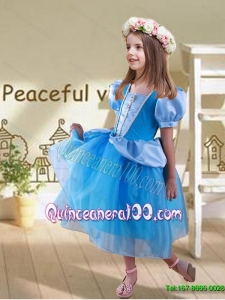 Popular Ball Gown Beaded Cinderella Flower Girl Dress with Long Sleeves