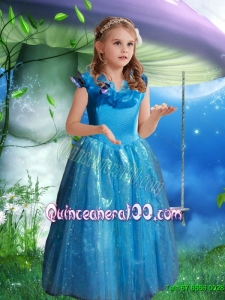 The Super Hot Blue Ball Gown Cinderella Flower Girl Dress with Hand Made Flowers