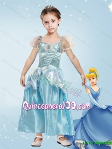 Wonderful A Line Laced Cinderella Flower Girl Dress in Blue