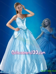Dynamic Beaded Sweetheart Cinderella Quinceanera Dress in Blue