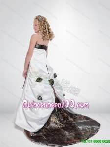 2015 Modest A Line Strapless Camo Flower Girl Dresses with Hand Made Flowers