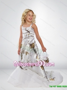 2015 Popular A Line Straps Camo Flower Girl Dresses with Brush Train Beading