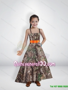 Comfortable Princess Straps Camo Flower Girl Dresses with Belt