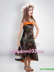 Perfect 2015 High Low One Shoulder Camo Flower Girl Dresses