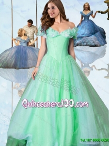 Sweet Off The Shoulder Cinderella Quinceanera Dresses in Apple Green