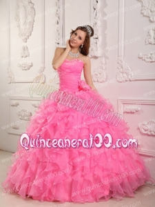 Romantic Ball Gown Sweetheart Floor-length Organza Beading Rose Pink Quinceanera Dress