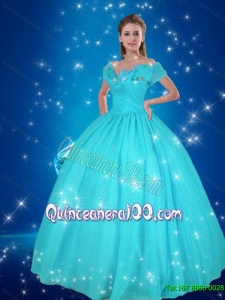 Affordable Off the Shoulder Blue Quinceanera Dresses for Party