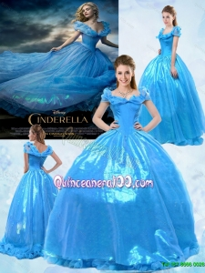 Fashionable Ball Gown Off the Shoulder Cinderella Quinceanera Dress in Blue
