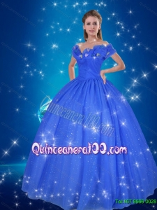 Pretty Hand Made Flowers Cinderella Quinceanera Dress in Blue