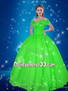 Simple Ball Gown Cinderella Quinceanera Dresses in Green