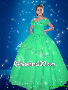 Simple Off the Shoulder Turquoise Cinderella Quinceanera Dresses