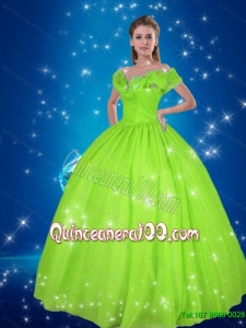 Spring Green 2015 Cinderella Quinceanera Dresses with Hand Made Flowers
