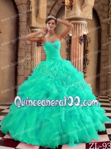 Turquoise Ball Gown Sweetheart Floor-length Ruffles Organza Quinceanera Dress