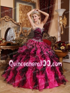 Black and Red Ball Gown Sweetheart Floor-length Organza Beading and Ruffles Quinceanera Dress