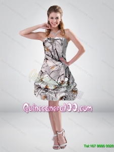 2015 Short Strapless Mini length Camo New Style Dama Dresses with Ruching