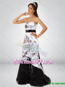 Dynamic Column Camo New Style Dama Dresses with Hand Made Flower and Sashes